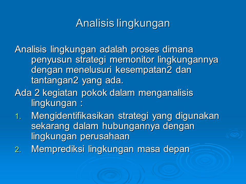 Analisis lingkungan Analisis lingkungan adalah proses dimana penyusun strategi memonitor lingkungannya dengan menelusuri kesempatan2 dan tantangan2 ya