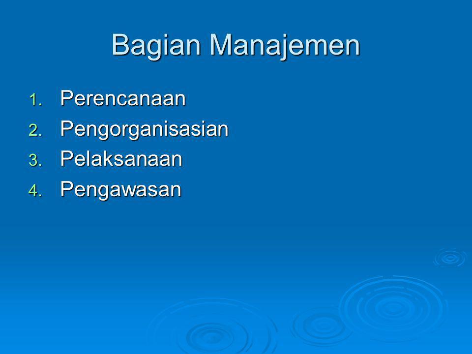 Bagian Manajemen 1. Perencanaan 2. Pengorganisasian 3. Pelaksanaan 4. Pengawasan