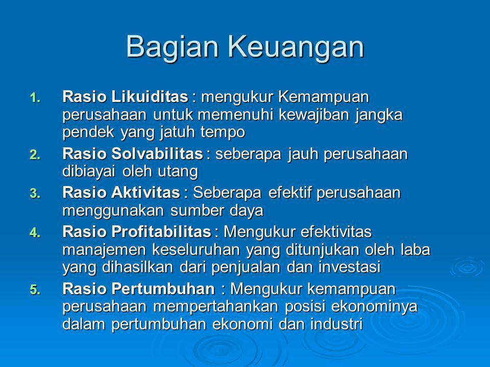 Bagian Keuangan 1. Rasio Likuiditas : mengukur Kemampuan perusahaan untuk memenuhi kewajiban jangka pendek yang jatuh tempo 2. Rasio Solvabilitas : se