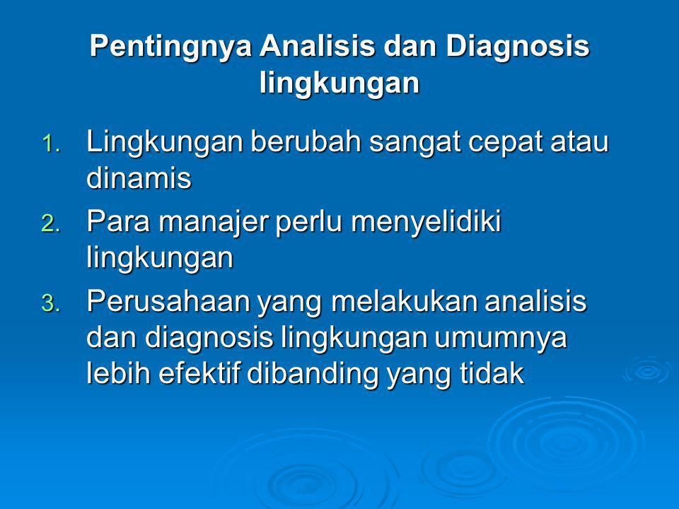 Pentingnya Analisis dan Diagnosis lingkungan 1. Lingkungan berubah sangat cepat atau dinamis 2. Para manajer perlu menyelidiki lingkungan 3. Perusahaa