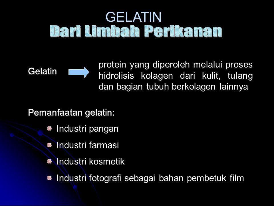 Pemanfaatan gelatin: Industri pangan Industri farmasi Industri kosmetik Industri fotografi sebagai bahan pembetuk film protein yang diperoleh melalui