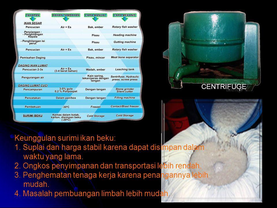 Keunggulan surimi ikan beku: 1. Suplai dan harga stabil karena dapat disimpan dalam waktu yang lama. 2. Ongkos penyimpanan dan transportasi lebih rend