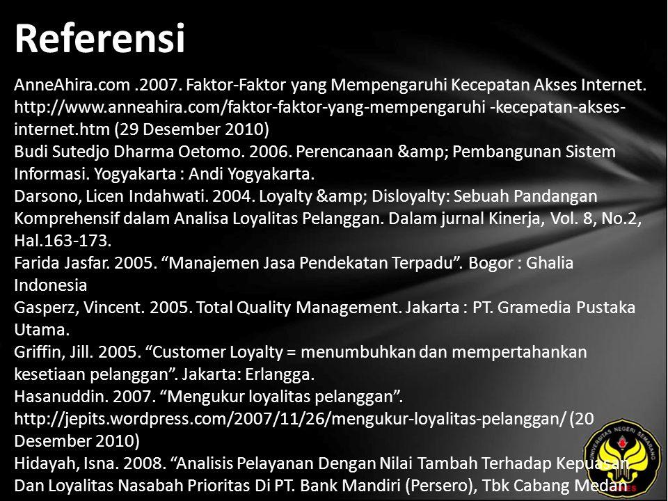 Referensi AnneAhira.com.2007. Faktor-Faktor yang Mempengaruhi Kecepatan Akses Internet. http://www.anneahira.com/faktor-faktor-yang-mempengaruhi -kece