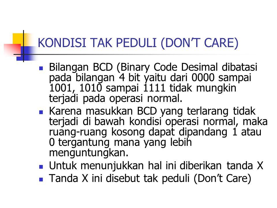 KONDISI TAK PEDULI (DON'T CARE) Bilangan BCD (Binary Code Desimal dibatasi pada bilangan 4 bit yaitu dari 0000 sampai 1001, 1010 sampai 1111 tidak mungkin terjadi pada operasi normal.