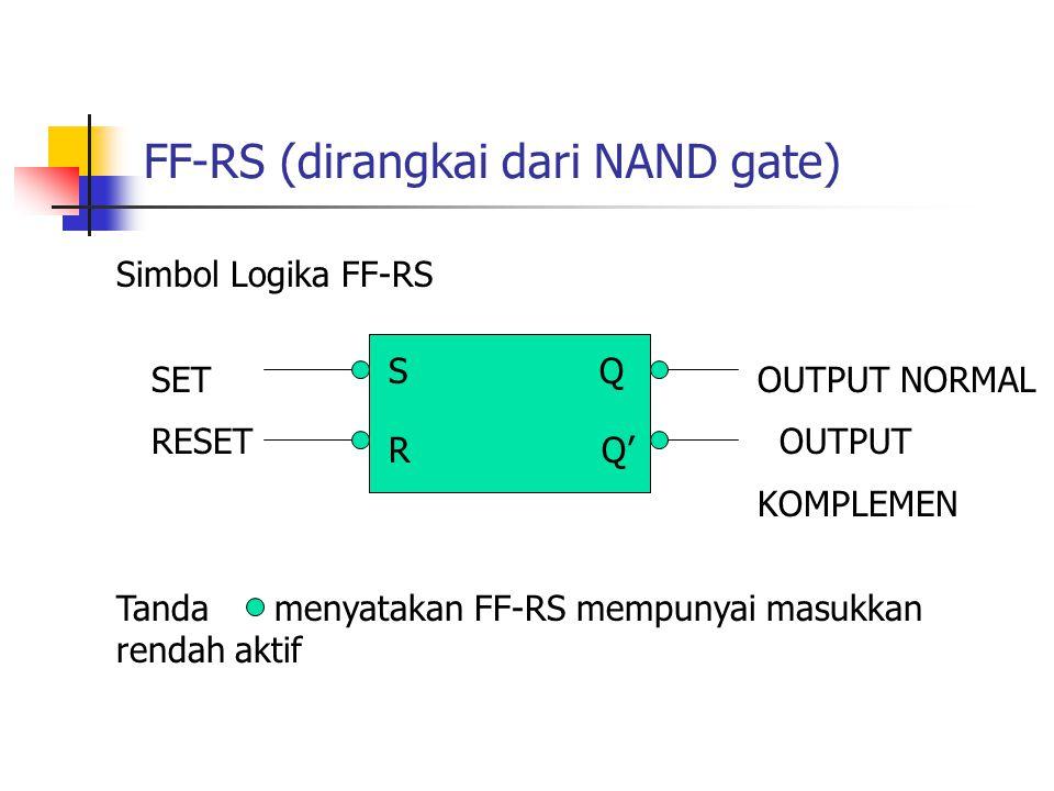 FF-RS (dirangkai dari NAND gate) Simbol Logika FF-RS S R Q' Q SET RESET OUTPUT NORMAL OUTPUT KOMPLEMEN Tanda menyatakan FF-RS mempunyai masukkan renda