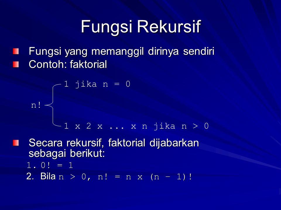 Fungsi Rekursif Fungsi yang memanggil dirinya sendiri Contoh: faktorial Secara rekursif, faktorial dijabarkan sebagai berikut: 1.0.