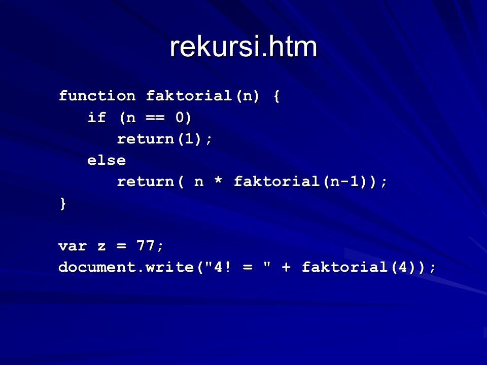 rekursi.htm function faktorial(n) { function faktorial(n) { if (n == 0) if (n == 0) return(1); return(1); else else return( n * faktorial(n-1)); return( n * faktorial(n-1)); } var z = 77; var z = 77; document.write( 4.