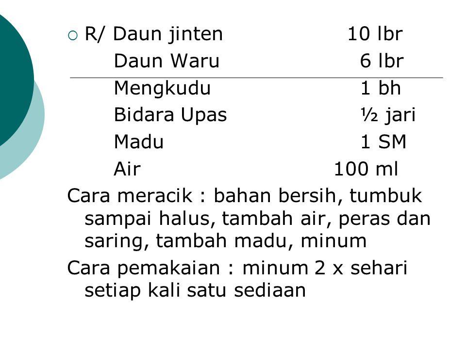  R/ Daun jinten 10 lbr Daun Waru 6 lbr Mengkudu 1 bh Bidara Upas ½ jari Madu 1 SM Air 100 ml Cara meracik : bahan bersih, tumbuk sampai halus, tambah