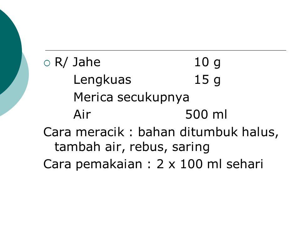  R/ Jahe10 g Lengkuas15 g Merica secukupnya Air 500 ml Cara meracik : bahan ditumbuk halus, tambah air, rebus, saring Cara pemakaian : 2 x 100 ml seh