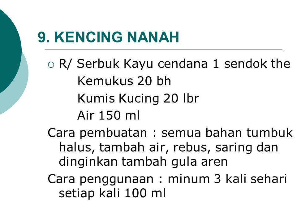 9. KENCING NANAH  R/ Serbuk Kayu cendana 1 sendok the Kemukus 20 bh Kumis Kucing 20 lbr Air 150 ml Cara pembuatan : semua bahan tumbuk halus, tambah