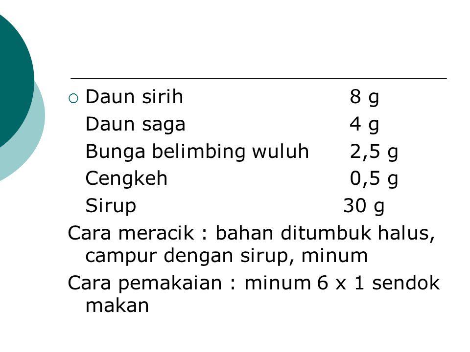  Daun sirih8 g Daun saga4 g Bunga belimbing wuluh2,5 g Cengkeh0,5 g Sirup 30 g Cara meracik : bahan ditumbuk halus, campur dengan sirup, minum Cara p