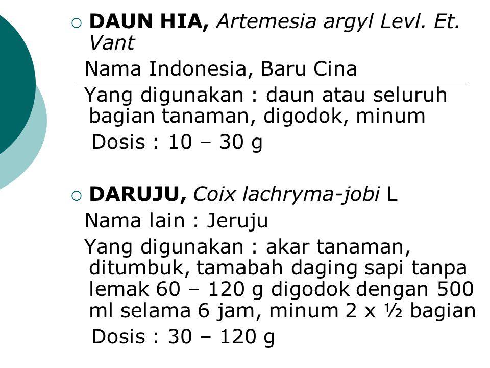  DAUN HIA, Artemesia argyl Levl. Et. Vant Nama Indonesia, Baru Cina Yang digunakan : daun atau seluruh bagian tanaman, digodok, minum Dosis : 10 – 30