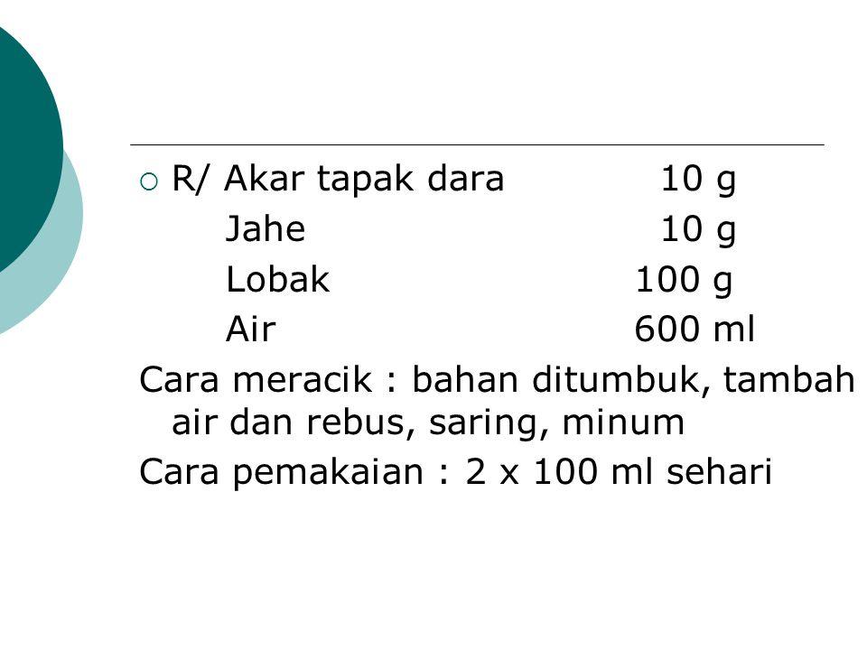  R/ Akar tapak dara10 g Jahe10 g Lobak 100 g Air 600 ml Cara meracik : bahan ditumbuk, tambah air dan rebus, saring, minum Cara pemakaian : 2 x 100 m