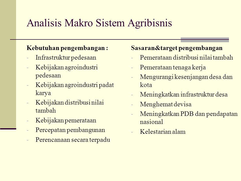 Analisis Makro Sistem Agribisnis Kebutuhan pengembangan : - Infrastruktur pedesaan - Kebijakan agroindustri pedesaan - Kebijakan agroindustri padat ka