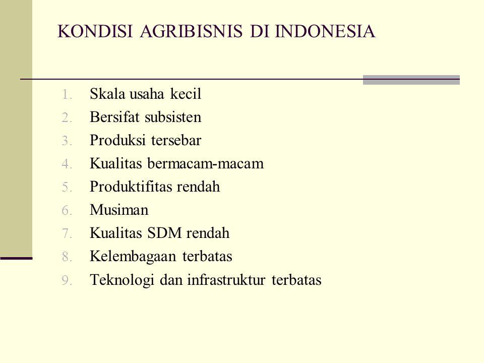 KONDISI AGRIBISNIS DI INDONESIA 1. Skala usaha kecil 2. Bersifat subsisten 3. Produksi tersebar 4. Kualitas bermacam-macam 5. Produktifitas rendah 6.
