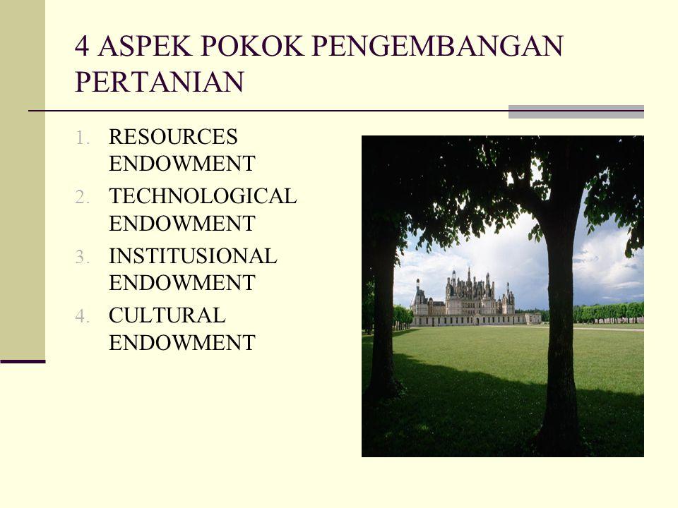 4 ASPEK POKOK PENGEMBANGAN PERTANIAN 1. RESOURCES ENDOWMENT 2. TECHNOLOGICAL ENDOWMENT 3. INSTITUSIONAL ENDOWMENT 4. CULTURAL ENDOWMENT