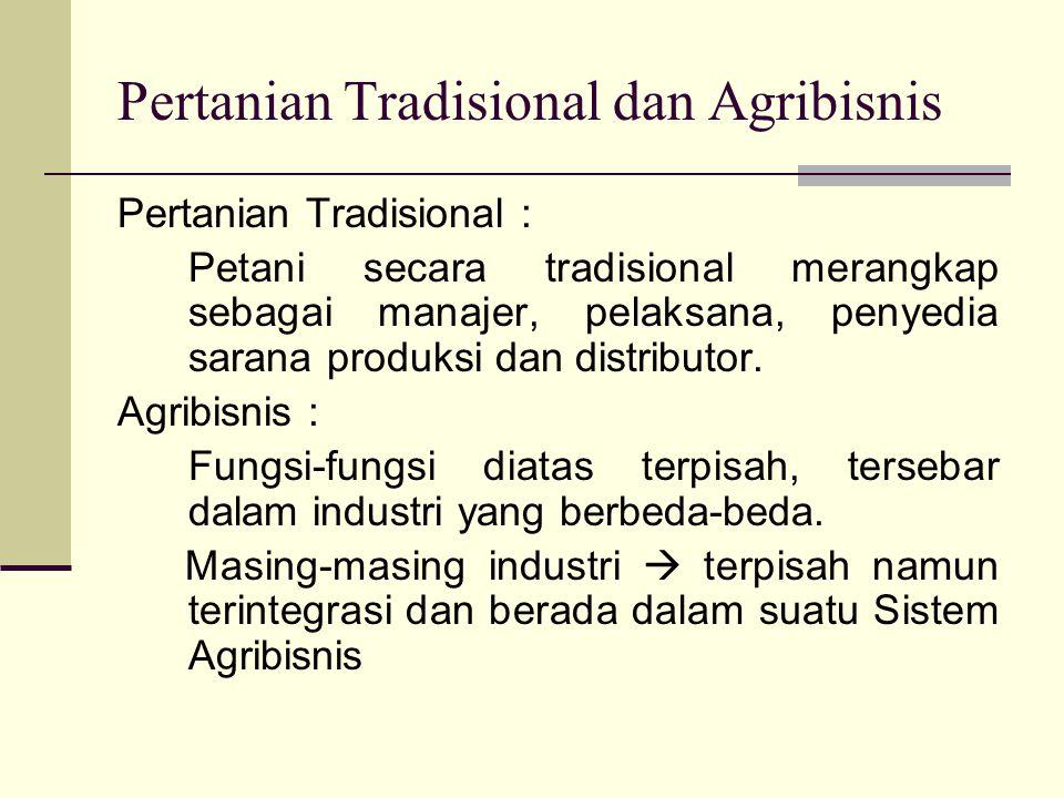 Pertanian Tradisional dan Agribisnis Pertanian Tradisional : Petani secara tradisional merangkap sebagai manajer, pelaksana, penyedia sarana produksi