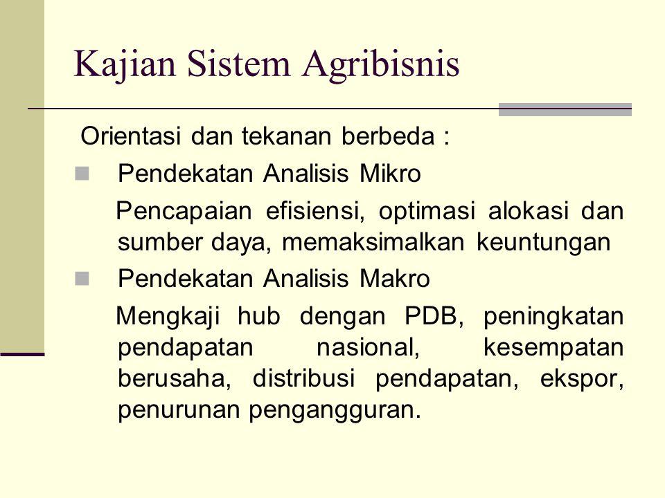 Kajian Sistem Agribisnis Orientasi dan tekanan berbeda : Pendekatan Analisis Mikro Pencapaian efisiensi, optimasi alokasi dan sumber daya, memaksimalk