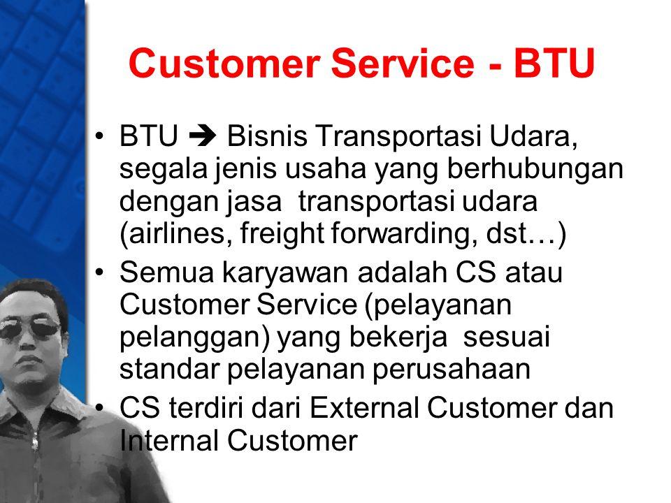 Customer Service - BTU BTU  Bisnis Transportasi Udara, segala jenis usaha yang berhubungan dengan jasa transportasi udara (airlines, freight forwardi