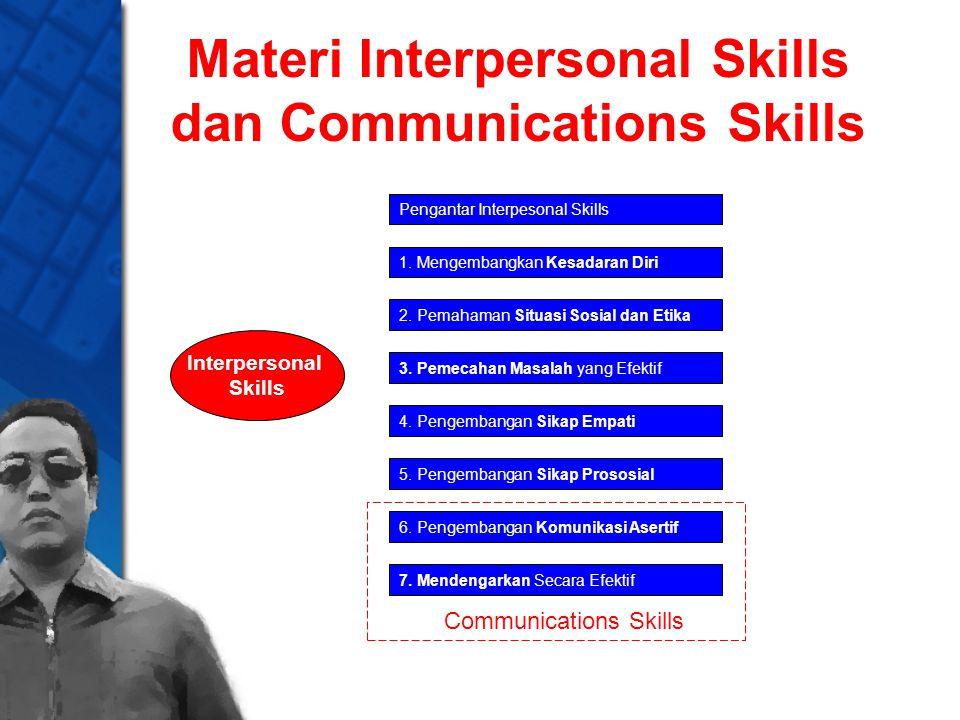 Materi Interpersonal Skills dan Communications Skills Interpersonal Skills Pengantar Interpesonal Skills 1. Mengembangkan Kesadaran Diri 2. Pemahaman