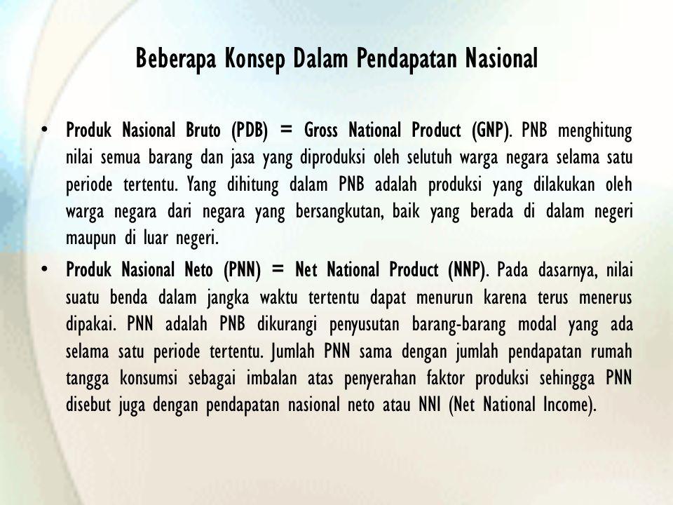 Beberapa Konsep Dalam Pendapatan Nasional Produk Nasional Bruto (PDB) = Gross National Product (GNP). PNB menghitung nilai semua barang dan jasa yang