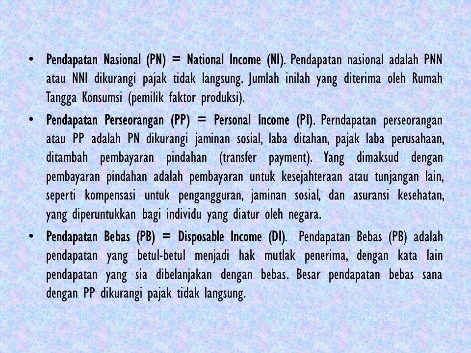 Pendapatan Nasional (PN) = National Income (NI). Pendapatan nasional adalah PNN atau NNI dikurangi pajak tidak langsung. Jumlah inilah yang diterima o