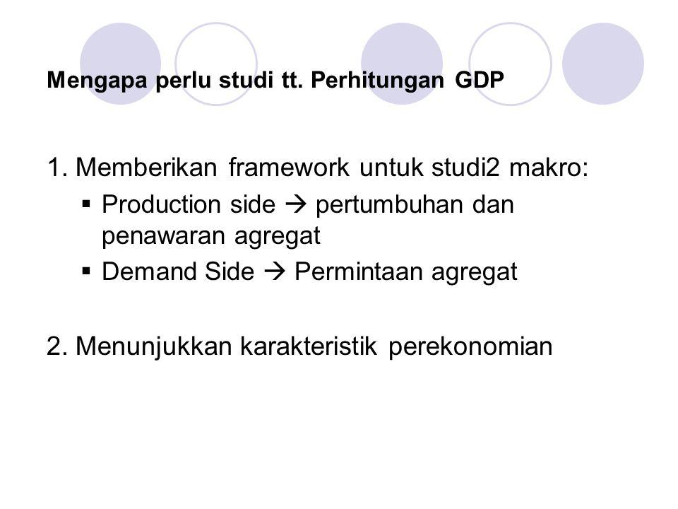 Mengapa perlu studi tt. Perhitungan GDP 1. Memberikan framework untuk studi2 makro:  Production side  pertumbuhan dan penawaran agregat  Demand Sid