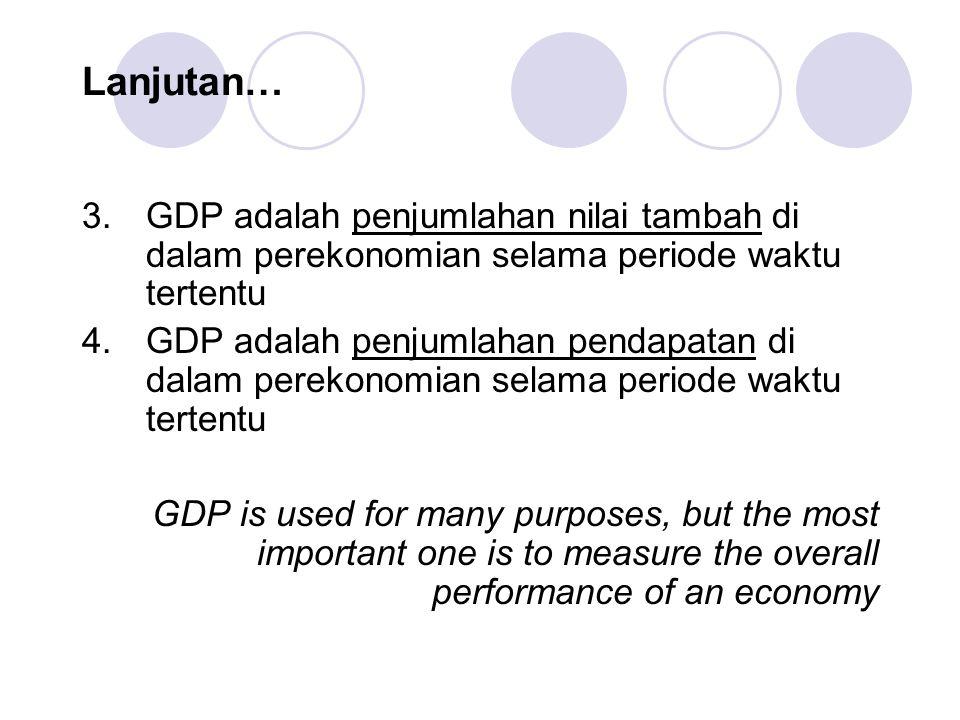 Lanjutan… 3.GDP adalah penjumlahan nilai tambah di dalam perekonomian selama periode waktu tertentu 4.GDP adalah penjumlahan pendapatan di dalam perekonomian selama periode waktu tertentu GDP is used for many purposes, but the most important one is to measure the overall performance of an economy
