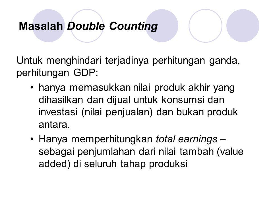 Masalah Double Counting Untuk menghindari terjadinya perhitungan ganda, perhitungan GDP: hanya memasukkan nilai produk akhir yang dihasilkan dan dijual untuk konsumsi dan investasi (nilai penjualan) dan bukan produk antara.