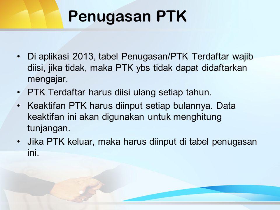 Penugasan PTK Di aplikasi 2013, tabel Penugasan/PTK Terdaftar wajib diisi, jika tidak, maka PTK ybs tidak dapat didaftarkan mengajar.