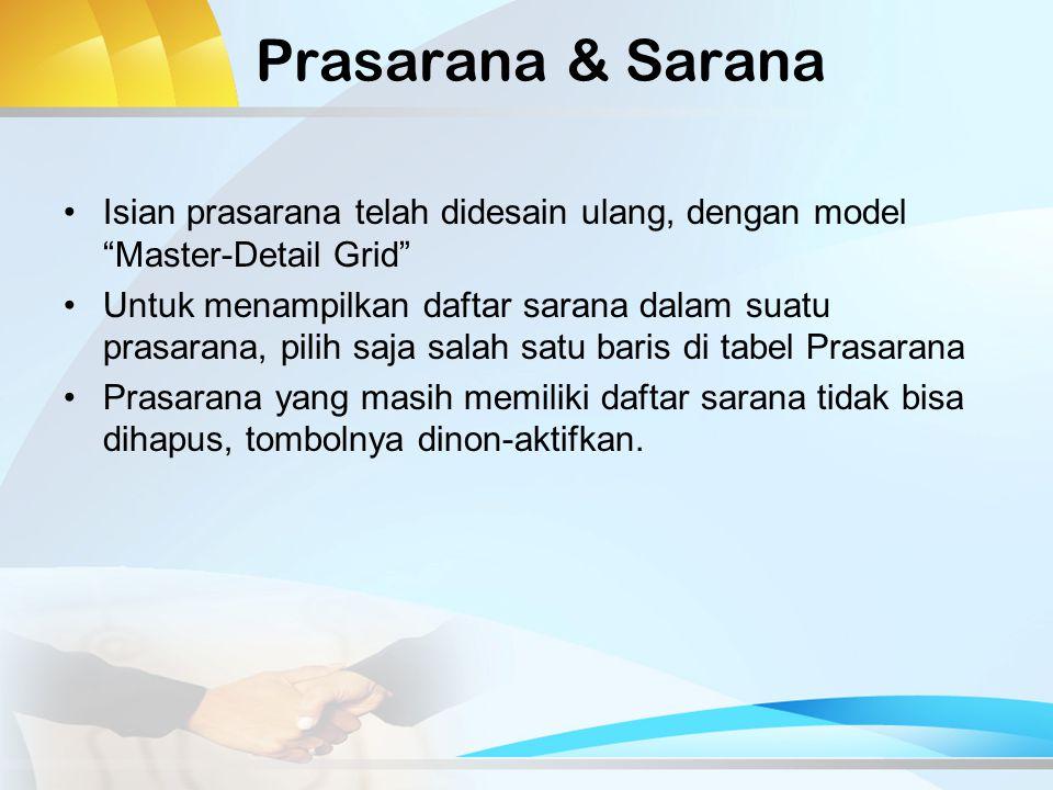 Prasarana & Sarana Isian prasarana telah didesain ulang, dengan model Master-Detail Grid Untuk menampilkan daftar sarana dalam suatu prasarana, pilih saja salah satu baris di tabel Prasarana Prasarana yang masih memiliki daftar sarana tidak bisa dihapus, tombolnya dinon-aktifkan.