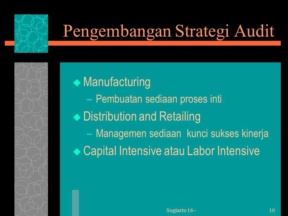 Sugiarto 16 -10 Pengembangan Strategi Audit  Manufacturing –Pembuatan sediaan proses inti  Distribution and Retailing –Managemen sediaan kunci sukses kinerja  Capital Intensive atau Labor Intensive