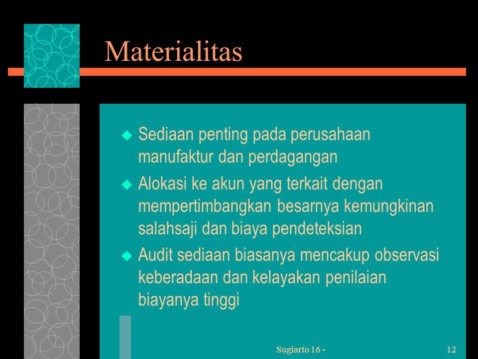 Sugiarto 16 -12 Materialitas  Sediaan penting pada perusahaan manufaktur dan perdagangan  Alokasi ke akun yang terkait dengan mempertimbangkan besarnya kemungkinan salahsaji dan biaya pendeteksian  Audit sediaan biasanya mencakup observasi keberadaan dan kelayakan penilaian biayanya tinggi