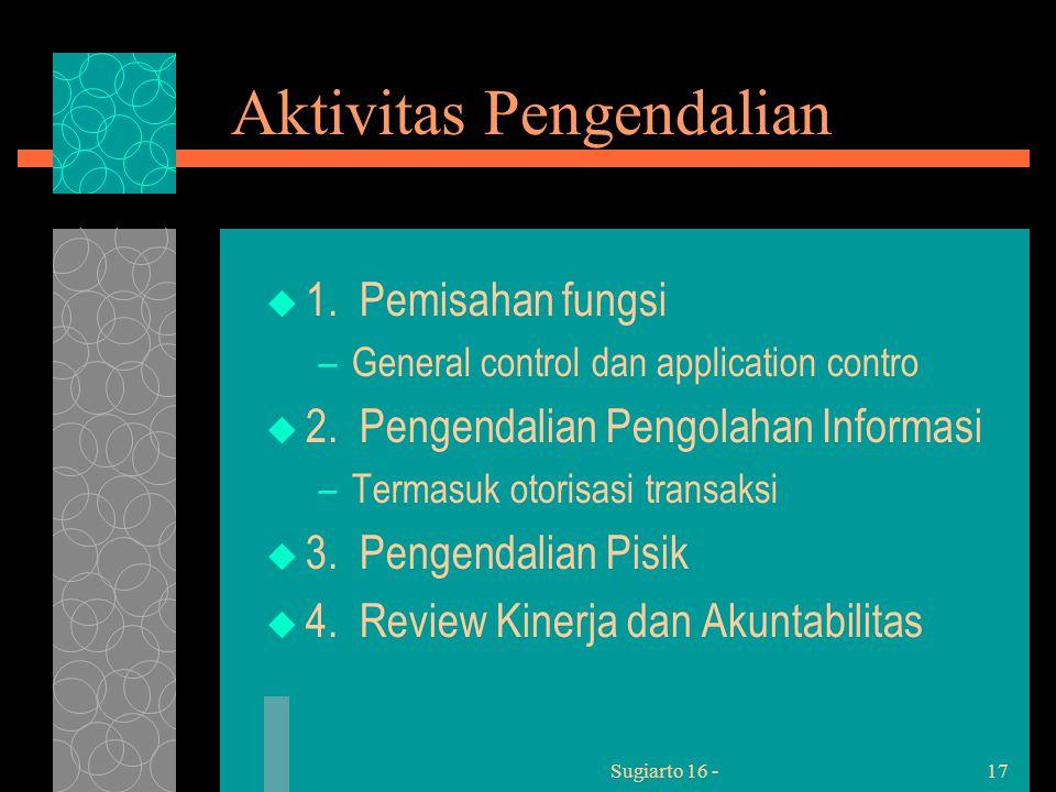 Sugiarto 16 -17 Aktivitas Pengendalian  1.