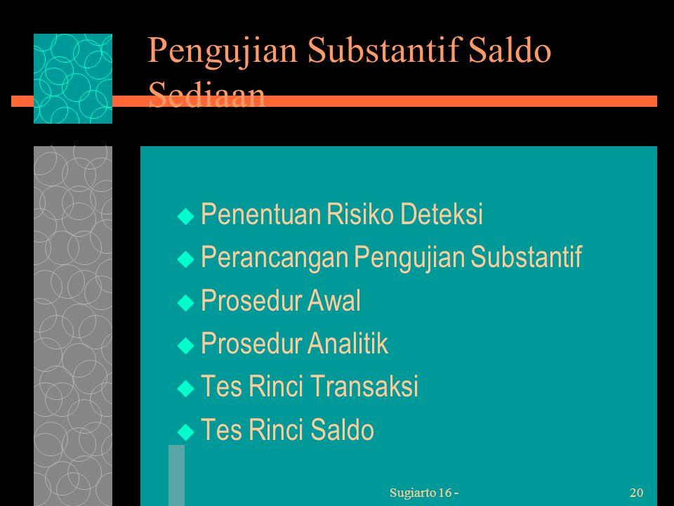 Sugiarto 16 -20 Pengujian Substantif Saldo Sediaan  Penentuan Risiko Deteksi  Perancangan Pengujian Substantif  Prosedur Awal  Prosedur Analitik  Tes Rinci Transaksi  Tes Rinci Saldo