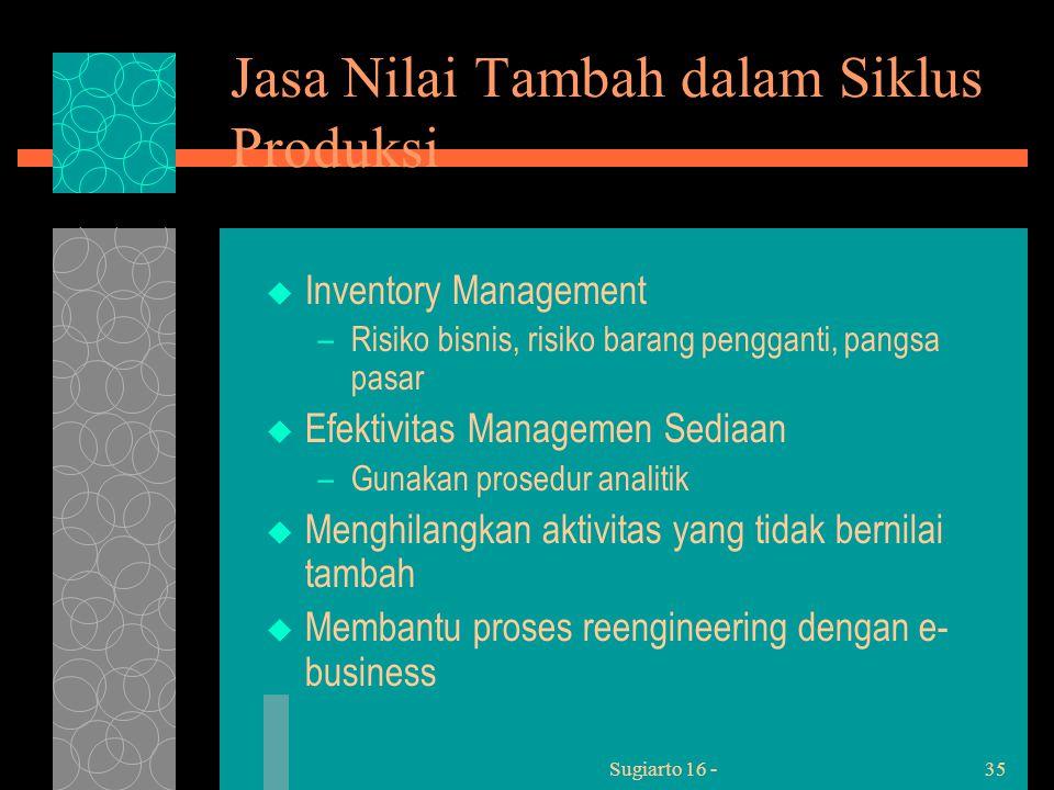 Sugiarto 16 -35 Jasa Nilai Tambah dalam Siklus Produksi  Inventory Management –Risiko bisnis, risiko barang pengganti, pangsa pasar  Efektivitas Managemen Sediaan –Gunakan prosedur analitik  Menghilangkan aktivitas yang tidak bernilai tambah  Membantu proses reengineering dengan e- business