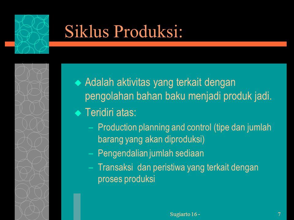 Sugiarto 16 -7 Siklus Produksi:  Adalah aktivitas yang terkait dengan pengolahan bahan baku menjadi produk jadi.