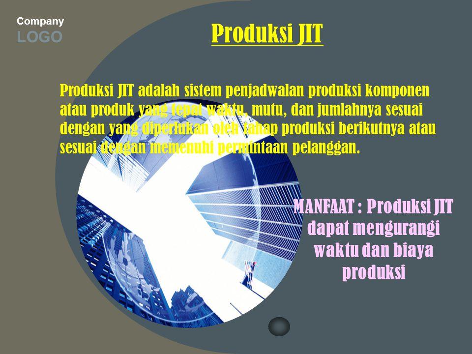 Company LOGO Produksi JIT Produksi JIT adalah sistem penjadwalan produksi komponen atau produk yang tepat waktu, mutu, dan jumlahnya sesuai dengan yan
