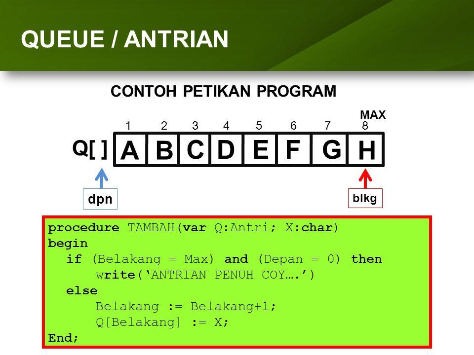 ARRAY (LARIK) procedure TAMBAH(var Q:Antri; X:char) begin if (Belakang = Max) and (Depan = 0) then write('ANTRIAN PENUH COY….') else Belakang := Belak