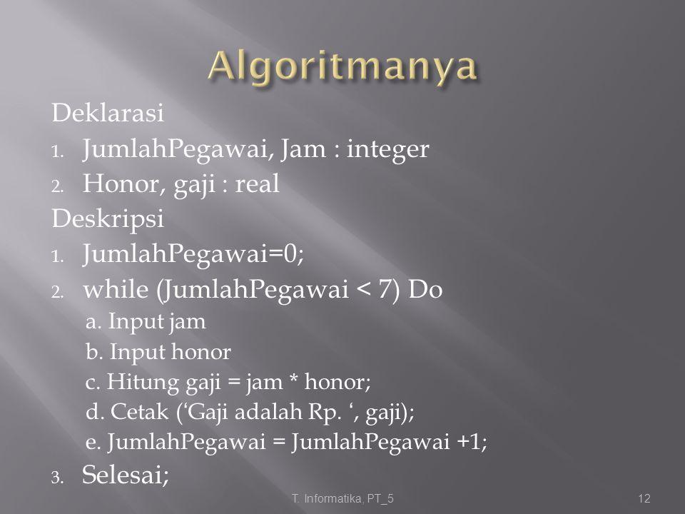 Deklarasi 1. JumlahPegawai, Jam : integer 2. Honor, gaji : real Deskripsi 1. JumlahPegawai=0; 2. while (JumlahPegawai < 7) Do a. Input jam b. Input ho