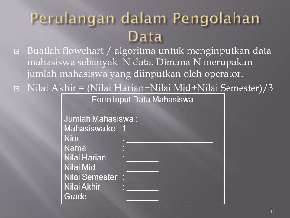  Buatlah flowchart / algoritma untuk menginputkan data mahasiswa sebanyak N data. Dimana N merupakan jumlah mahasiswa yang diinputkan oleh operator.