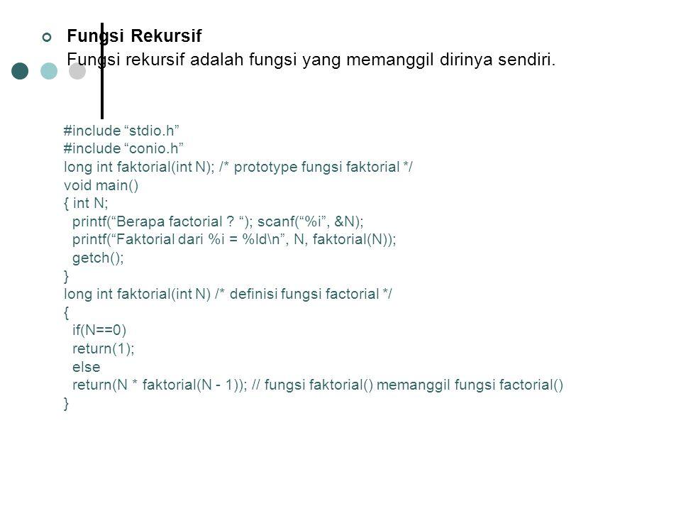 Fungsi Rekursif Fungsi rekursif adalah fungsi yang memanggil dirinya sendiri.