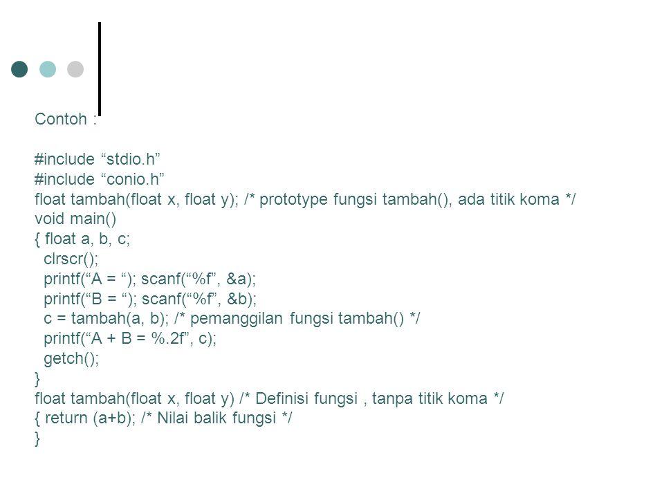 Contoh : /* Program menghitung nilai factorial */ #include stdio.h #include conio.h long int faktorial(int N); /* prototype fungsi factorial() */ void main() { int N; long int fak; printf( Berapa factorial .