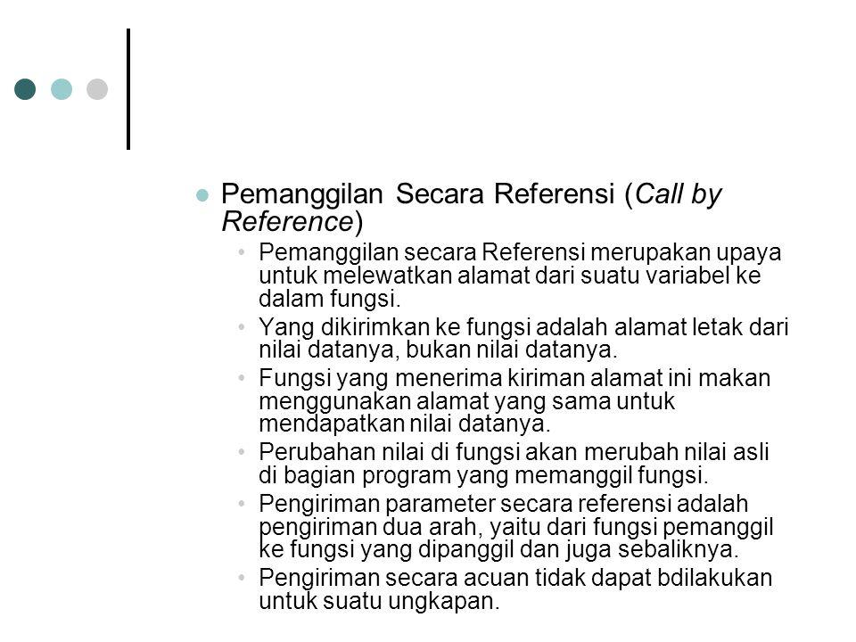 Pemanggilan Secara Referensi (Call by Reference) Pemanggilan secara Referensi merupakan upaya untuk melewatkan alamat dari suatu variabel ke dalam fungsi.