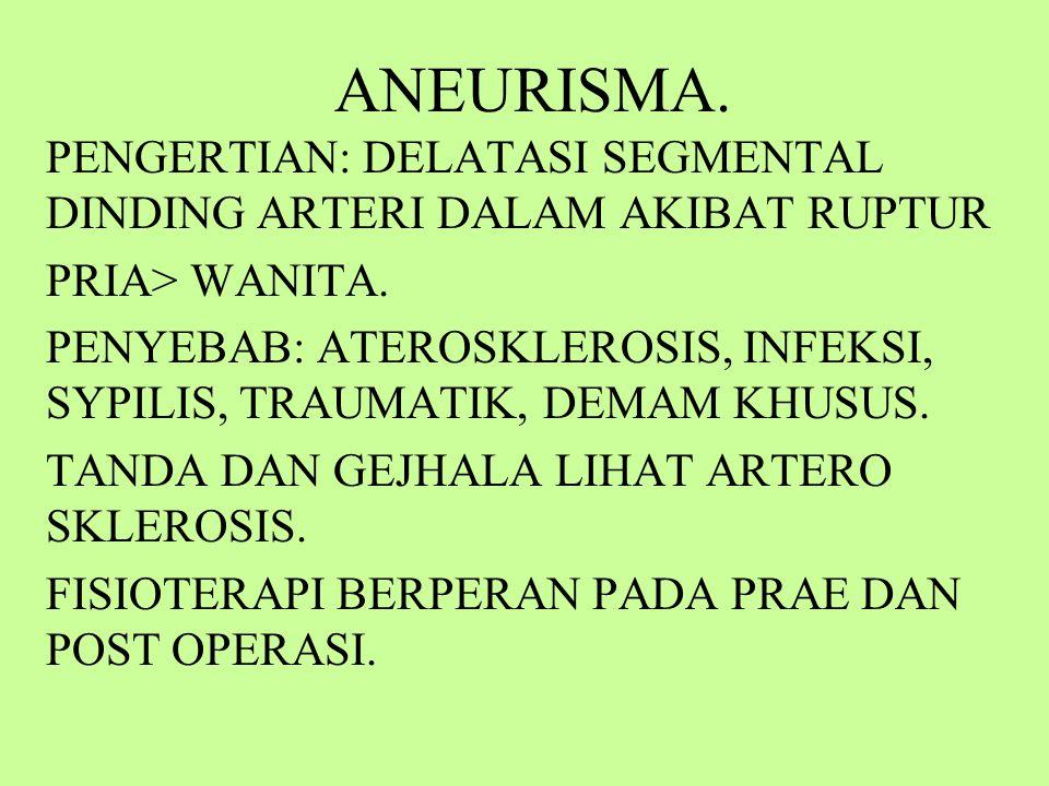 ANEURISMA.PENGERTIAN: DELATASI SEGMENTAL DINDING ARTERI DALAM AKIBAT RUPTUR PRIA> WANITA.