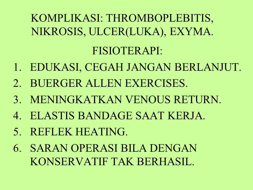 KOMPLIKASI: THROMBOPLEBITIS, NIKROSIS, ULCER(LUKA), EXYMA.