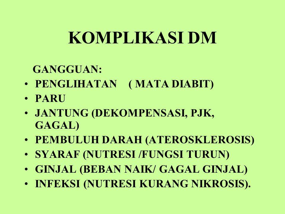 KOMPLIKASI DM GANGGUAN: PENGLIHATAN ( MATA DIABIT) PARU JANTUNG (DEKOMPENSASI, PJK, GAGAL) PEMBULUH DARAH (ATEROSKLEROSIS) SYARAF (NUTRESI /FUNGSI TURUN) GINJAL (BEBAN NAIK/ GAGAL GINJAL) INFEKSI (NUTRESI KURANG NIKROSIS).