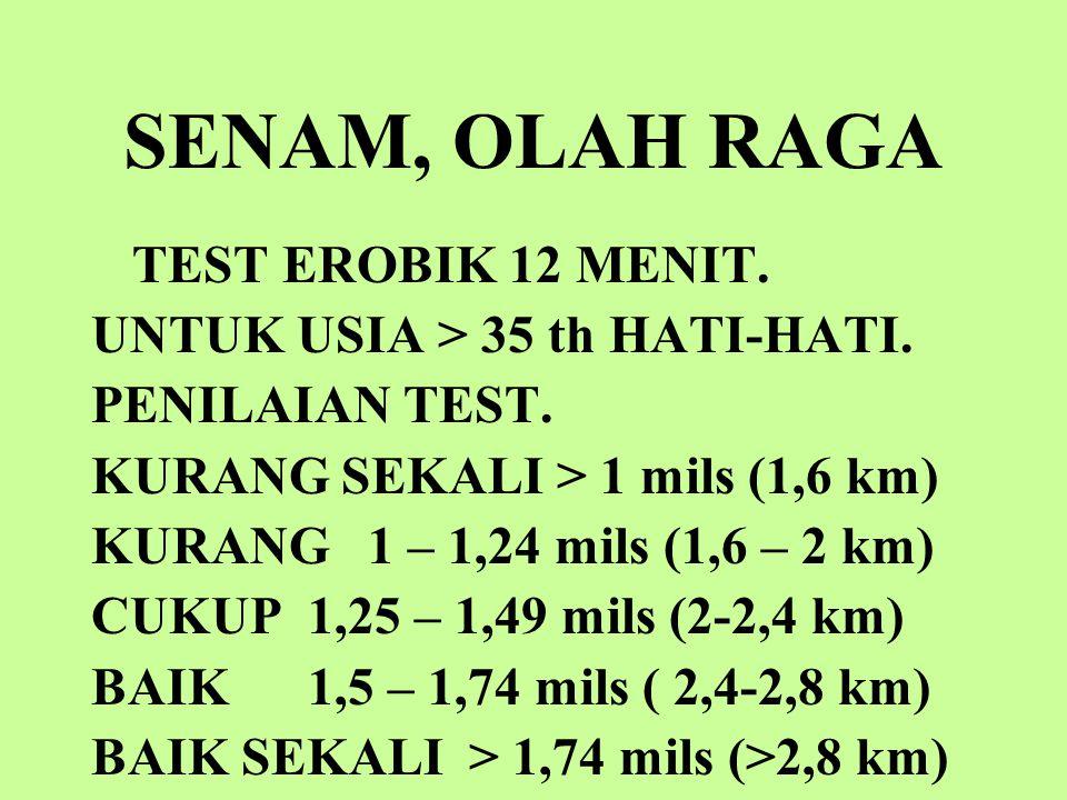 SENAM, OLAH RAGA TEST EROBIK 12 MENIT.UNTUK USIA > 35 th HATI-HATI.