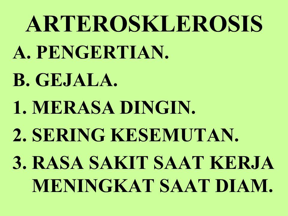 ARTEROSKLEROSIS A.PENGERTIAN. B. GEJALA. 1.MERASA DINGIN.