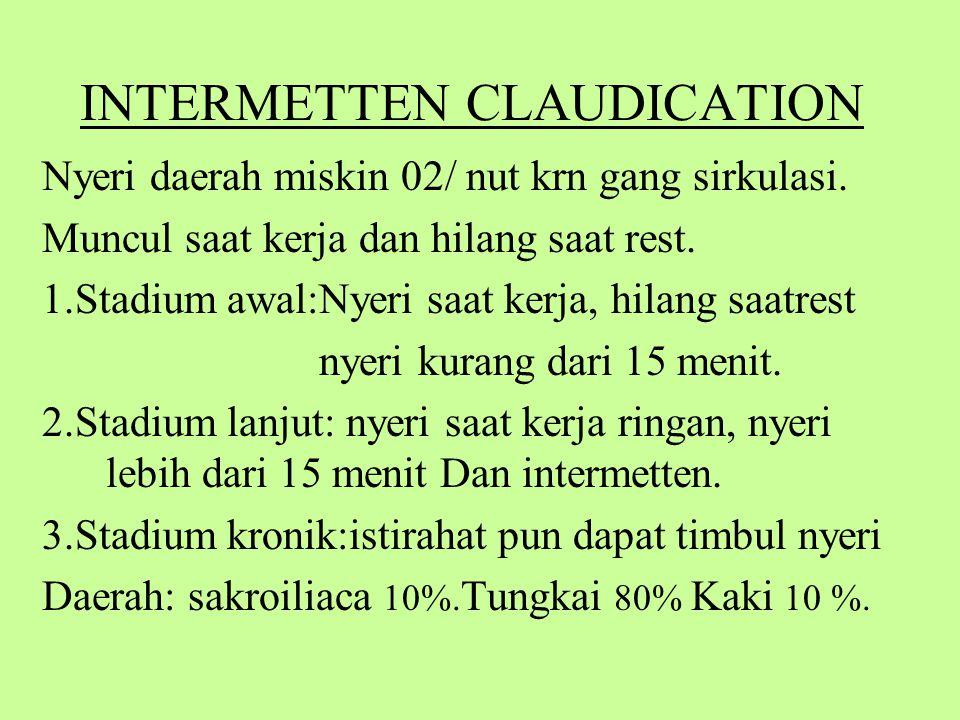 INTERMETTEN CLAUDICATION Nyeri daerah miskin 02/ nut krn gang sirkulasi.